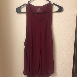 Blue Life by Planet Blue razor back maroon tank